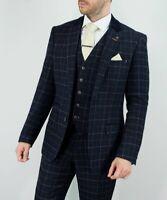 Mens Cavani Shelby Navy Tweed Check 3 Piece Suit Peaky Blinders Weddings Prom
