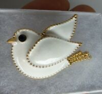 Dove bird brooch white enamel crystal rhinestone vintage style pin in gift box