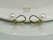 Boucles d`Oreilles Doré Clips on Puces Nonpercee Perle Blanche Simple 8mm J1