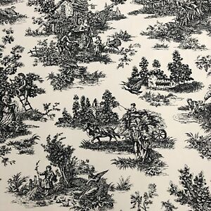 Waverly Wellington Country Toile Panel Black Cream 42 x 84 Curtain Farm French