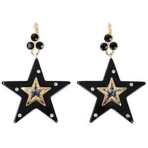 DOLCE & GABBANA RUNWAY Stelle Star Stars Crystals Earrings Gold Black 07916