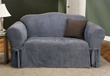 Sure Fit Soft Suede Sofa Slipcover in Smoke Blue Box Style Seat Cushion 1 Piece