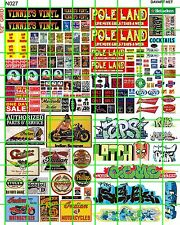 N027 DAVE'S DECALS N SCALE URBAN GRAFFITI STRIP CLUB BIKER SIGNS RECORD SHOP