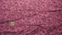 Vintage Cotton Blend Fabric Belle France, BLACK FLORAL ON MULBERRY/MAGENTA 3 Yds