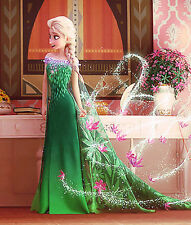ICE ELSA FROZEN DRESS FOR BABY GIRL KIDS  - BIRTHDAY, PARTY IN GREEN