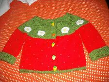 girls hand knitted strawberry cardigan,9-12 months.