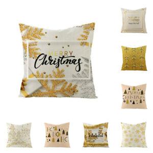 "18"" Christmas Linen Rose Gold Snowflake Pillow Case Cushion Cover Home Decor"