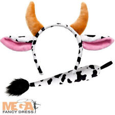 Cow Ears & Tail Adult Fancy Dress Farm Animal Mens Ladies Costume Accessory New