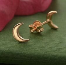 Simple Minimalist 18k Rose Gold Vermeil Crescent Moon Stud Studs Post Earrings