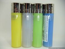 4 x Electronic Coloured Clipper Lighters Yellow Clear Green Blue Transparent