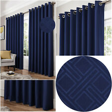 Blue Navy DIAMOND Geometric Woven Lined Blockout Eyelet / Ring Top Curtains Pair