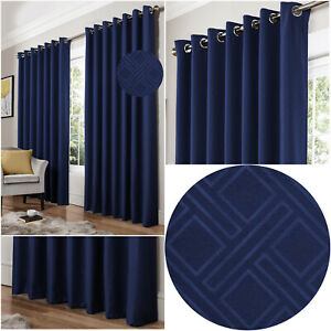 Blue Navy Diamond Geometric Woven Lined Blockout Eyelet Ring Top Curtains Pair