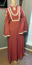 Vtg 60's Nadine Angel Bell Slv Lace Folk Prairie Boho Gypsy Hippy Maxi Dress