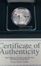 1996 PROOF National Community Service 90% Silver Dollar US Mint Coin Box & COA