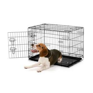 Gabbia per cani e gatti pieghevole in metallo con vassoio + 2 porte 24 e 36 poll