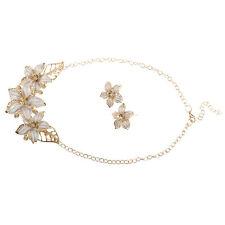 Orchid Flower Oil Drip Rhinestone Necklace Earrings Jewelry Set Golden