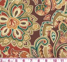 Bryant Bonaire Clay Indoor Outdoor Brown Teal Floral Print Upholstery Fabric