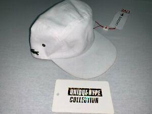 SUPREME LACOSTE PIQUE BOX LOGO CAMP CAP HAT 5 6 PANEL WHITE