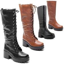 Women's Knee High Block Lace Up Synthetic Leather Boots