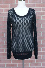 Women's Studio Y T-Shirt Top Lace Black  Stretch with Silver Accents Size S