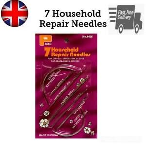 7 Hand Repair Upholstery Sewing Needles Curved Craft Carpet Leather Blanket Tent