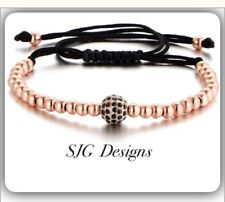Bead Extended Braid Bracelet-ROSE GOLD Plated with Rope Pave setting 6mm Beads
