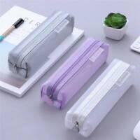 Transparent Student Pen Pencil Case Nylon Mesh Portable Pouch Makeup Bags 8Color