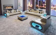 Conjunto de Sofá Moderno Diseño Asiento Tapicería Cuero 3+2+1 Set H3 Beige