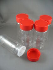 SPICE BOTTLES JARS PLASTIC 4 OZ LOT OF 5 W/SIFTERS 4OZ RED BLACK OR WHITE CAPS