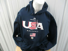 VINTAGE MAJESTIC USA MEN BASEBALL SWEATSHIRT HOODIE 2XL WORLD BASEBALL CLASSIC