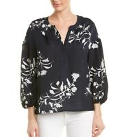 Joie Eilga Navy Blue White Floral Print Popover Blouse Top Size M Puff Sleeve