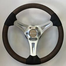 New OEM Gussi M65 Boat Steering Wheel Brushed Aluminum & Faux Burl Inserts