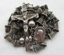 """† AMAZING HTF VINTAGE STERLING RIDGED """"WEDDING BELL"""" ROSARY 29"""" 30GRS NECKLACE †"""