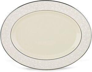 "MSRP $329 Lenox Dinnerware, Pearl Innocence Small Oval Platter 13"""