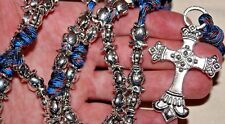 Silver JESUS Fish Bead Paracord Unbreakable Rosary DC 625