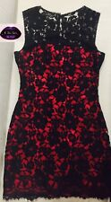 💜DOLCE & GABBANA💜 40 / 6 RED SILK BLACK FLORAL LACE DRESS Cocktail Party goth