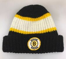 Boston Bruins NHL Beanie Skull Cap Hat Ski Cuff Black White Yellow Striped