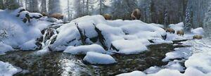 NEW S. Lyman HIGH CREEK CROSSING Giclee/Canvas S/N; Bison; Winter Water Scene