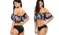 Frill Ruffle Bandeau Bikini Set Swimwear Togs!Ruched side bottoms Black