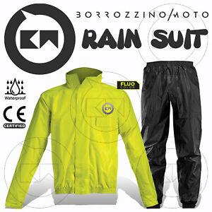 Rain Suit Combinaison Anti-pluie Kit Complet Imperméable Moto Scooter Jaune Fluo