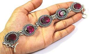 Bi Color Tourmaline Gemstone Handmade Fashion Jewelry Silver Bracelet B-673