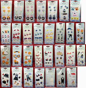 4 Packs of Stick On Card Embellishments for Arts & Crafts - 30 Designs Available