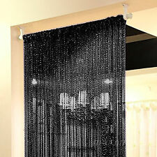 STRING DOOR CURTAIN Crystal Home Room Divider Tassel Fringe Window Panel Black