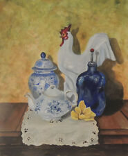 Blue study rooster still life antiques 8 x 10 print of original acrylic painting