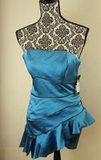 Jill Stuart Blue Strapless Mini Dress Tiered Ruffles Cocktail Size 4 New