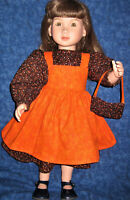 """Orange Fall Pinafore and Brown Flowered Dress with Purse-Fits 23"""" My Twinn  Doll"""