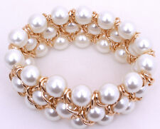 New Pearl Round Gold plated Link chain Ring Bracelet Wrist Cuff Women & Girls- A