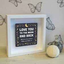 Love You To The Moon Box Frame with 3D Metal Artwork - Personalised Picture Gift