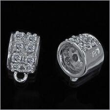 Sterling Silver CZ Pendant Charm Connector For European Bracelet & Cord #97149
