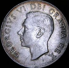 1949 XF+ (AU-) Details Dinged Canada Silver 50 Cents (Fifty, Half) - KM# 45 - JG